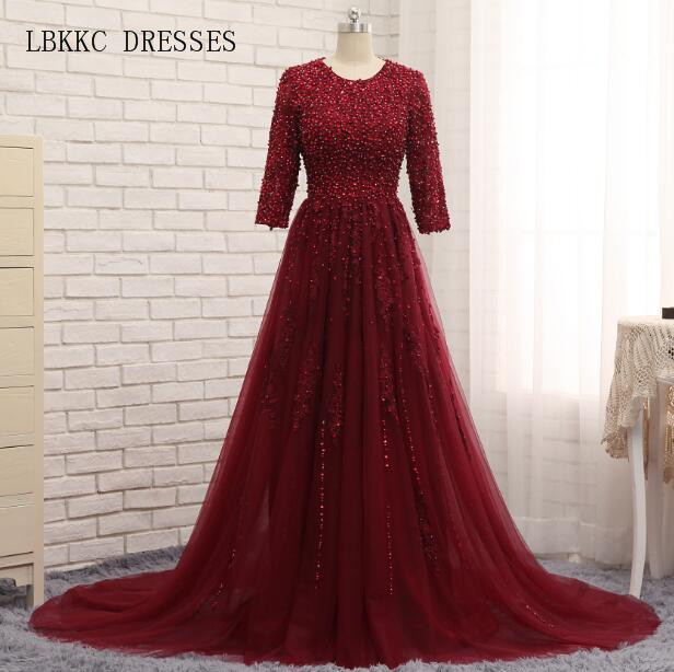 Robe De Soiree Burgundy Evening Dresses Sparkly Beaded Open Back A Line Tulle Formal Women Party Evening Gown Dresses 2017