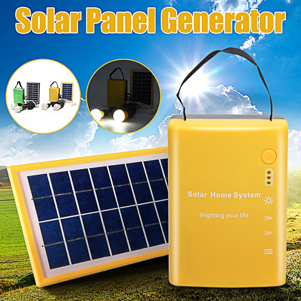 Portable Home Outdoor Solar Panel Power Generator USB Cable Charge Emergency LED Light System 4.5Ah / 6V batteries Energy LED energy efficient system for solar panel