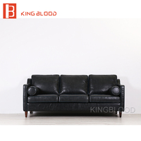 American Vintage PU Picture Of Furniture Living Room Wooden Sofa Set Design Black Top Grain Leather