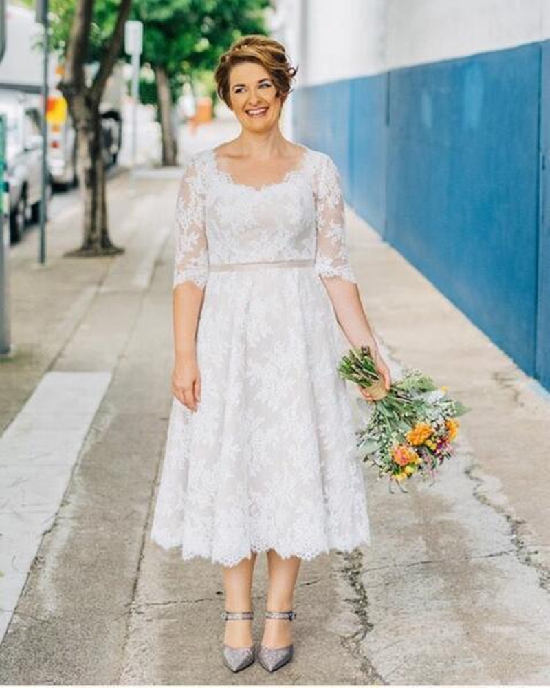 Aliexpress buy 2017 hot selling short lace plus size wedding aliexpress buy 2017 hot selling short lace plus size wedding dress half sleeve tea length bridal gown vestidos de noiva custom made from reliable gown ombrellifo Images