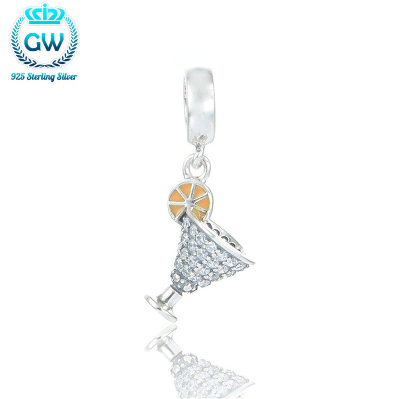 GW Fashion 925 Sterling Silver European Charms Wineglass Diy Friendship Bracelet Silver Pendant Best Gift Party Charms S184