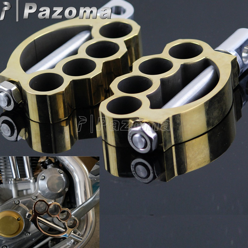 PAZOMA fit for ALL motorcycle with male-mount foot Pegs Sportster Softail Dyna Touring brass