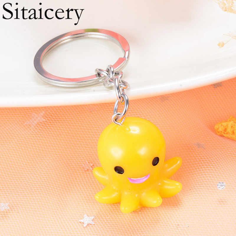 Sitaicery брелок для ключей Осьминог кольцо украшения со стразами в виде животных для женщин девочек любителей домашних животных Автомобильная сумка Подвески подарок брелок для женщин