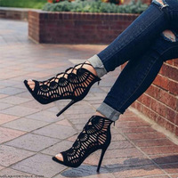 2018 Gladiator Roman Summer Sandals Cross-tied Boots Women New Sexy Hollow Peep Toe High Heels   Shoes   Woman Stiletto 688