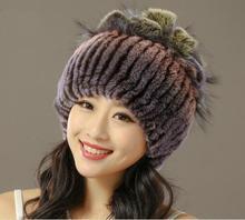 Продажа 2017 зима шапочки hat для женщин трикотажные рекс кролика hat с fox мех цветок топ free размер повседневная женская шляпа
