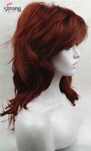 Image 5 - כובע קלאסי אדום ארוך שאגי שכבות נחושת מלא נשים פאה סינתטית פאות של אפשרויות צבע