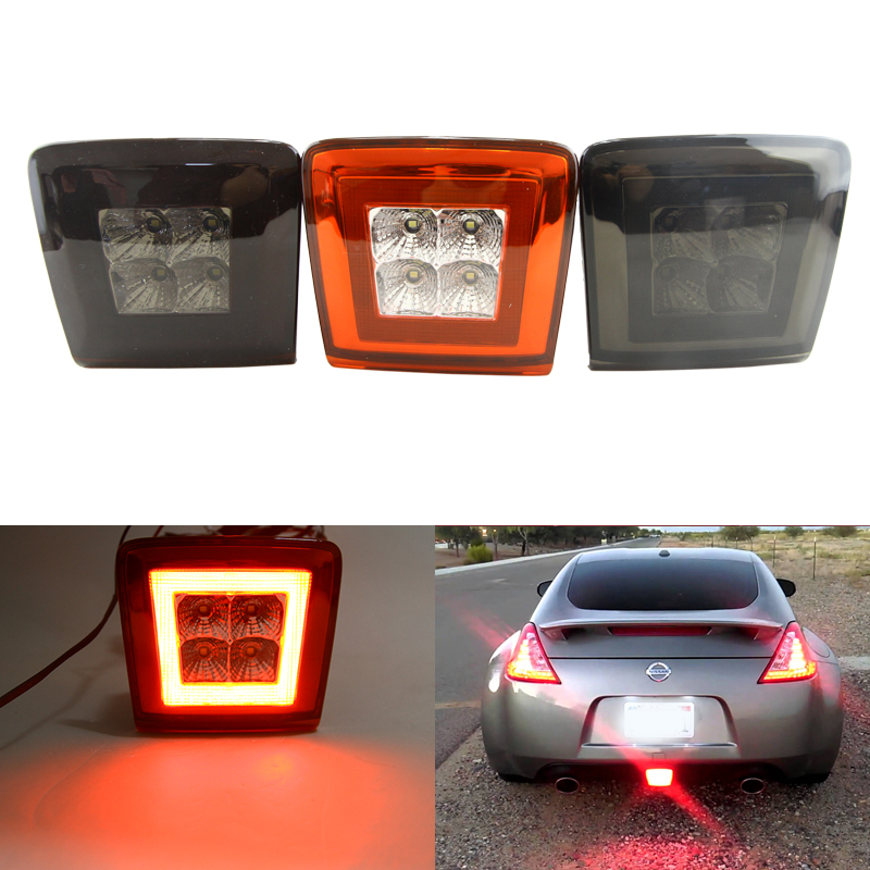 Integrated Rear Fog Brake Backup Reverse Light Kits For Nissan 370Z 2009-Up Red Smoke Clear Lens Car-Styling Led Assembly Kit high power white red 3156 t25 switchback led bulbs for chevy and ford mustang backup add on rear fog light reverse tail brake