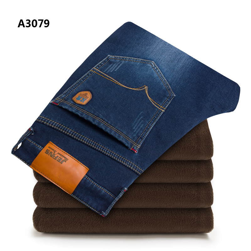 28-42 New Regular Fit Blue Warm Jeans Brand Fleece Pants Autumn Winter Jeans Warm Flocking Soft Mens Stretch Jeans Uomo A3079 inc international concepts new black regular fit bootleg pants 12 $69 5 dbfl