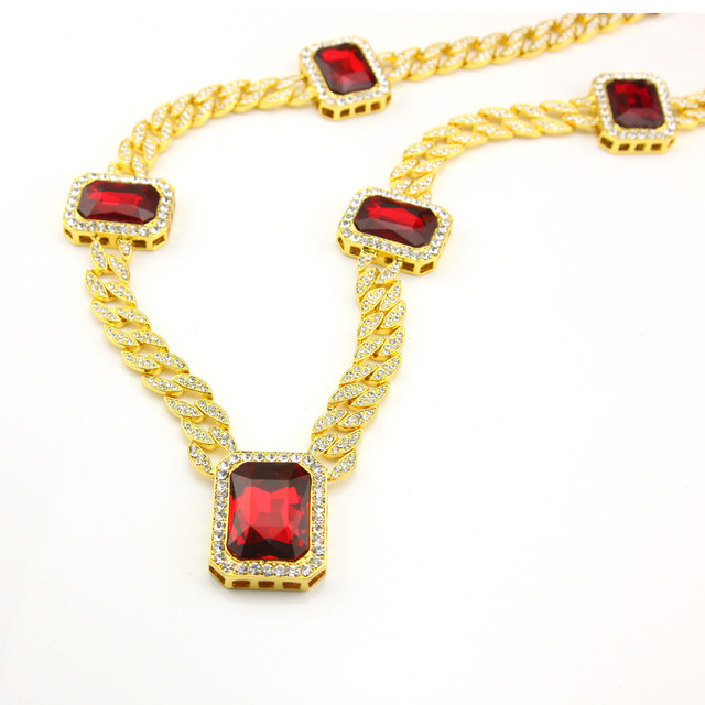 Gold Plated Link Chain Necklace Red Hip Hop Necklace Fashion Unisex Miami Cuban Curb Link Chain Rappers Jewelry Wholesale