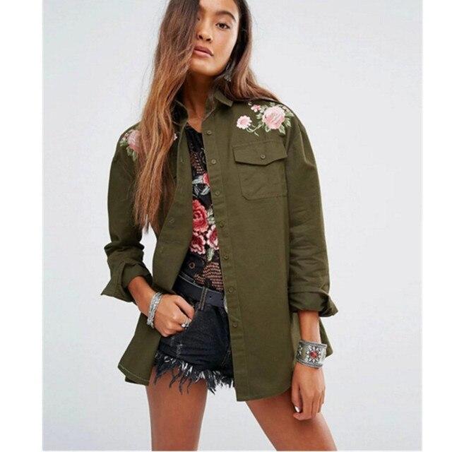 Boyfriend Стиль Армия Зеленый Цветок Вышивка Рубашка 2016 Нагрудные С Длинным рукавом Карманы Блузка Топы Пальто blusas blusa сорочка femme