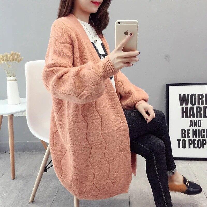 Korean Long Cardigans Women 2020 New Autumn Lantern Sleeve Oversized Cardigans Casual Open Stitch Knit Jacket feminino invierno