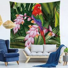 Macaw Tapestry Bird Wall Hanging Printed Vivid Animal Microfiber Bedspreads Decorative Large Beach Mat