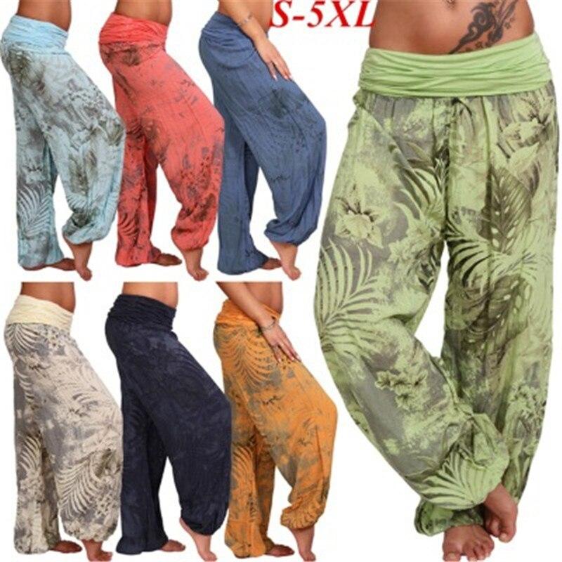 Drop Shipping Women Bohemian Harem Wide Leg TrousersSporting Loose Printed Pants Summer/Fall/Spring  S-5XL