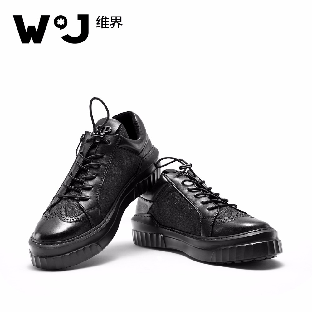 W.J Genuine Cow Leather Casual Brand Sneakers for Men Breathable Jacquard Oxford Zipper Men's Shoes top brand high quality genuine leather casual men shoes cow suede comfortable loafers soft breathable shoes men flats warm