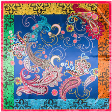 90cm*90cm Bohemian Scarf Women Pasiley Flower Floral Printed Silk Bandana Square for Women/Men/Boys/Girls