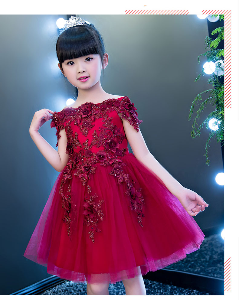 2017 New Girls Shoulderless Wedding Dress Red Lace Appliques Party Princess Birthday Dress First Communion Gown