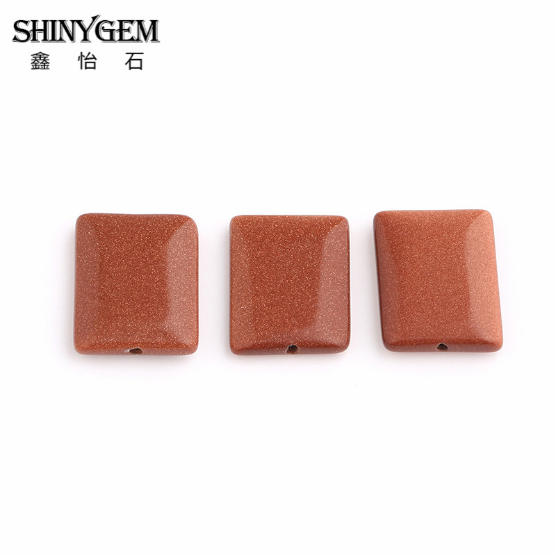 20pcs Rectangular Gold Sand Gem Stone Beads Long Square Bead Brown Color Beads Accessories Craft In Bulk wholesale