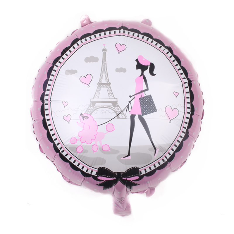 1pcs 18 Inch Print Girl Leaf Balloon Paris Tower Girl Pink Birthday Ball Party Bachelor Party Double-sided Decorative Balloon(China)