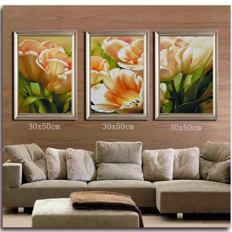 Tulipes diamant peinture point de croix triptyque fleurs décor à la maison ensemble pour broderie point photos strass mosaïque Kit perceuse