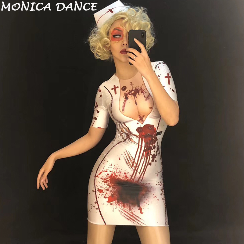 Halloween Costumes for Women Sexy Nurse White Short Dress 3D Printed Bloodstain Personality Costumes Nightclub Party Stage Wear