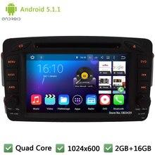 Quad core Android 5.1.1 1024*600 Car DVD Player Radio Audio Stereo Screen For Benz Vaneo Viano Vito C-W203 A-W168 CLK-C209 W209