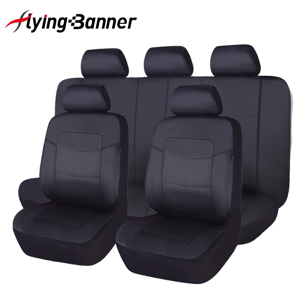 Black Full Set PU Leather Car Seat Cover Universal Fit Most SUV Front & Rear Seat Decoration Automobiles Seat Cover coverking front 50 50 bucket custom fit seat cover for select chevrolet monte carlo models genuine leather black