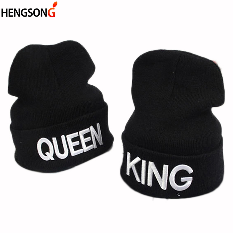 King Queen   Beanie   Men Women Casual Hat   Beanies     Skullies   Winter Hats Cap Knitted Hiphop Hat Female Couple Warm Winter Cap BLACK