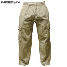 Retro Hiphop Men Cargo Trousers Casual Pants Baggy Wide Legs Striped 100%Cotton Loose Fit Joggers Elastic Waist 5XL Plus Size