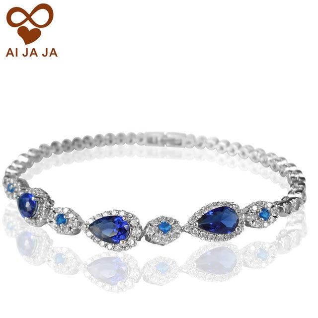 Safira Azul CZ Diamante Pavimentada Pulseiras Cadeia Branco Banhado A Ouro da Festa de Casamento Pulseira Cadeia Bojoux Bague Nupcial Jóias Presente