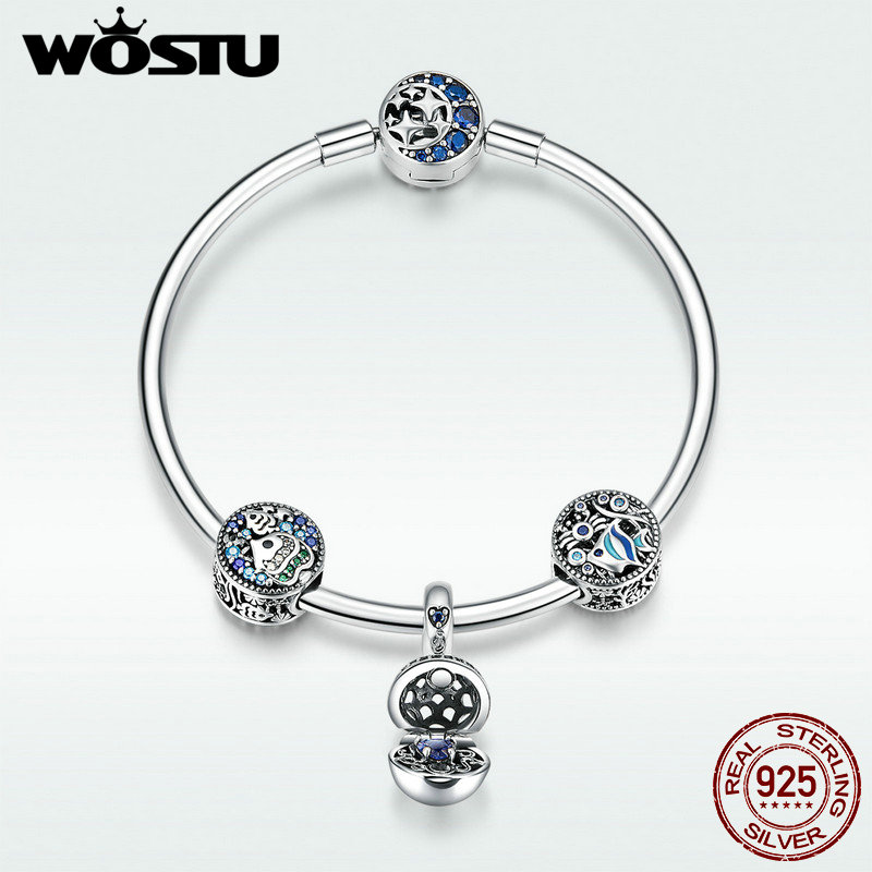 WOSTU Pure 925 Sterling Silver Blue Fish Sea World Beads Charm Bangles Bracelet For Women Delicate