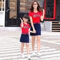 Весна Осень Мать Daught Платья Мода Соответствия Одежды Семьи Мать И Дочь Одежда Хлопка С Коротким Рукавом Девушки Одеваются