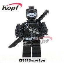 Única Venda Gi Joe Série Super Heróis Snake Eyes Mate com Cão Vadio Vagalume Modelo Blocos de Construção Crianças Brinquedos de Presente KF355