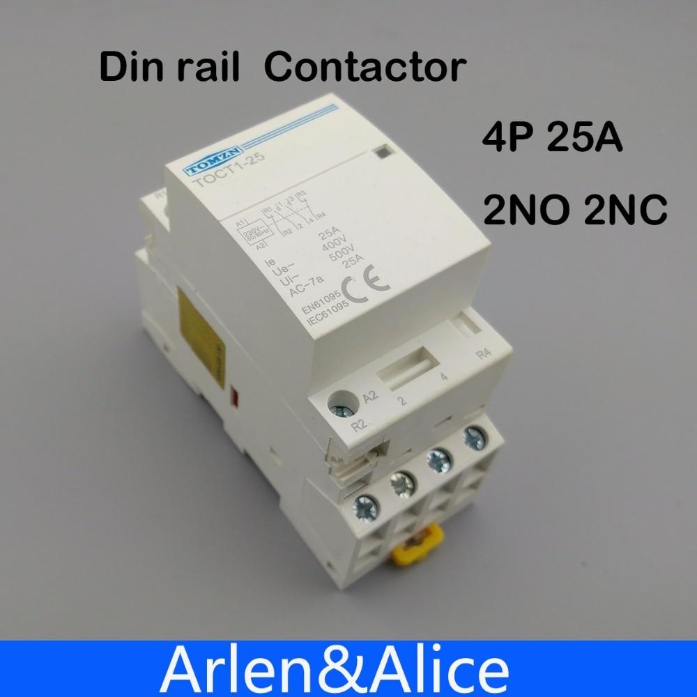 TOCT1 4P 25A 2NC 2NO 220V/230V 50/60HZ Din rail Household ac Modular contactor toct1 4p 63a 230v ac dc coil 50 60hz din rail household ac modular contactor