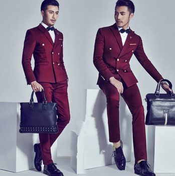 Fashionable Double Breasted Burgundy Groom Tuxedos Groomsmen Peak Lapel Mens Suits Blazers (Jacket+Pants+Tie) W:950