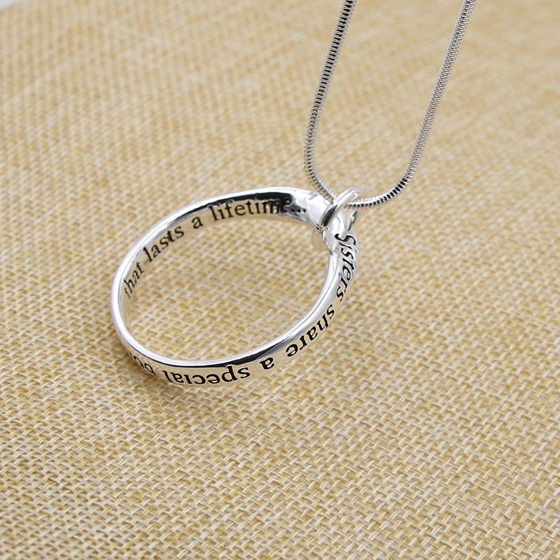 Trendy silver plated necklace letter engraved jewelry hollow round trendy silver plated necklace letter engraved jewelry hollow round circle pendant necklace for friend womenmen lovers gifts in pendant necklaces from aloadofball Gallery