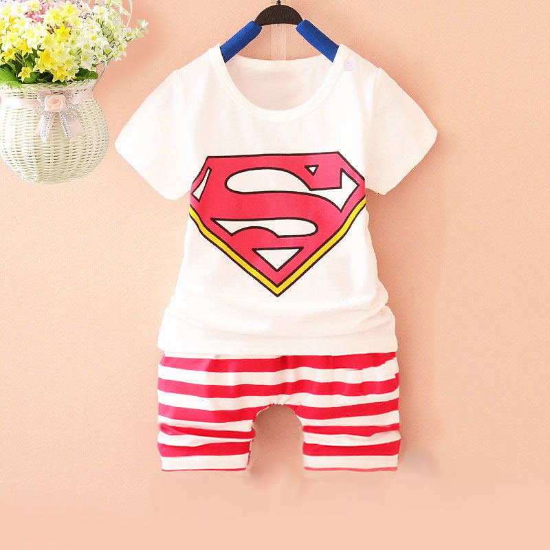 Super 2017 summer infant sets  1-4Y baby clothing sets Cotton lovely short sleeve boy & girl clothes T-shirt+Shorts