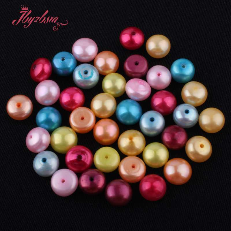 Jewelry & Accessories Beads Kind-Hearted 8mm Smooth Half Drilling Freshwater Pearl Beads Natural Stone Beads 1pair For Diy Earring Jewelry Making,wholesale Free Shipping Fine Quality