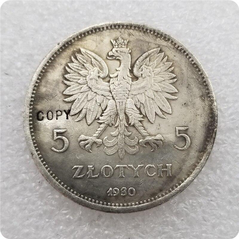 Копия памятных монет, копия драгоценных монет 1930-poland-5-zloэтих