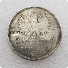 1930-poland-5-zlotych cópia moedas comemorativas-réplica moedas medalha moedas colecionáveis