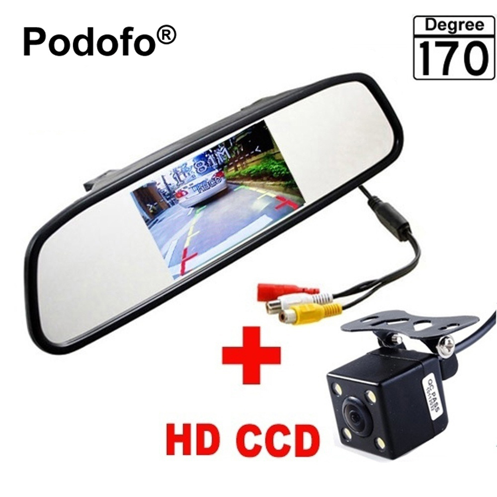 Podofo Mini 4 3 Car Rear View Mirror with Camera Navigation Lights Reversing Camera Parking with