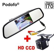 """Podofo Mini 4,3 """"Auto Rückspiegel mit Kamera Navigationslichter Rückfahrkamera Parkplatz mit Kamera Parktronic Auto-styling"""