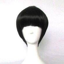 NARUTO Rock Lee pelucas negras de Cosplay, resistentes al calor, para fiesta