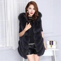 Long Light Grey Striped Fox Fur Vest dark grey hoodie fur Gilet Long Outwear coat sleeveless plus size customized leather patch