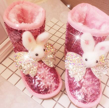2017 Handmade Parent-Child Bling Bling Sequins Pink Boot No Tie Shoelaces Rabbit Leather Snow Ankle Boot Kawaii Shoe Warm Winter2017 Handmade Parent-Child Bling Bling Sequins Pink Boot No Tie Shoelaces Rabbit Leather Snow Ankle Boot Kawaii Shoe Warm Winter