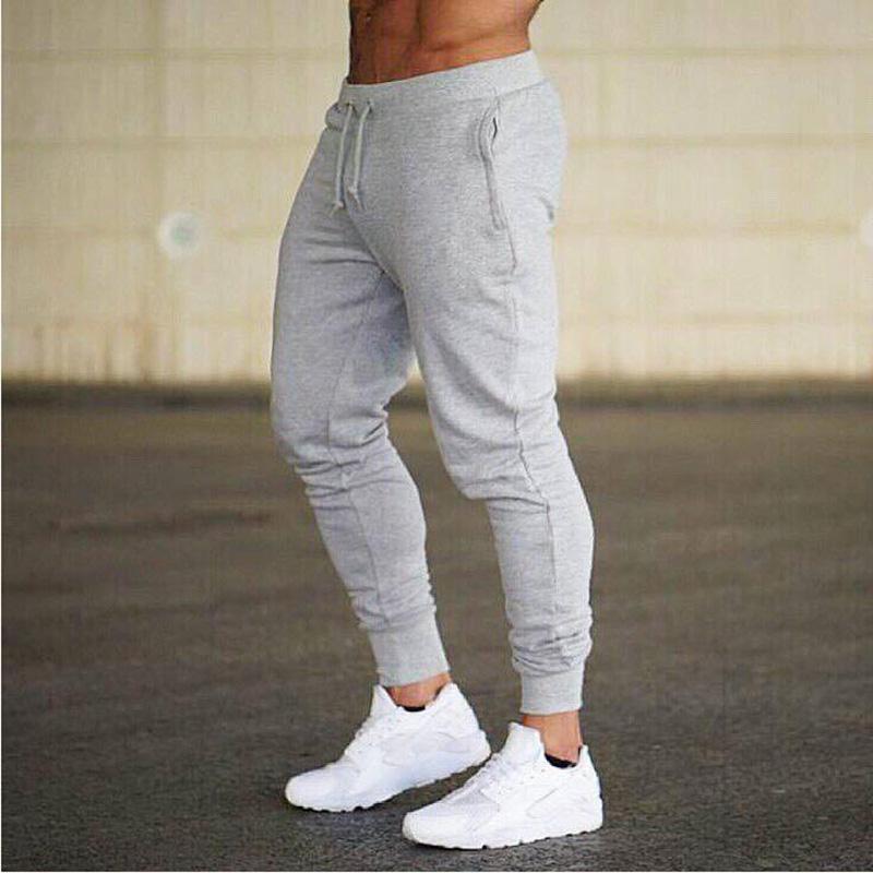 2019 Autumn New Mens Slim Fit Sweatpants Gyms Fitness Workout Solid Sportswear Trousers Male Casual Fashion Pencil Pants Joggers