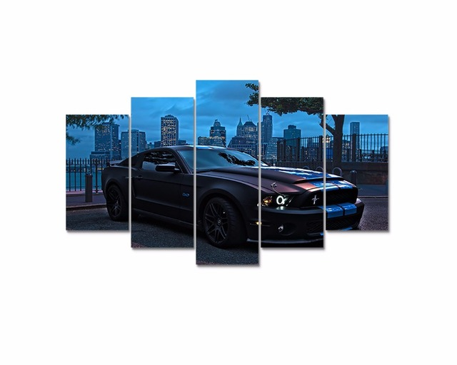 Attractive Dropshipping 5 Panel HD Printed Oil Painting Ford Mustang Poster Canvas  Print Home Decor Wall Art