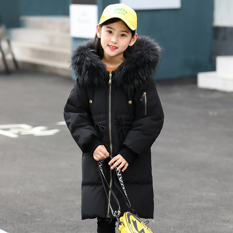 Girls Boys Down Coat Winter Kids Jackets Coats Big Fur Collar Children's Thick Warm Long Down Jacket Parkas 120-160 winter long new knee length women jacket longthen slim was thin coat big fur collar plus size thick parkas warm outwear mz847