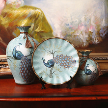 3pc/Set ceramic vase High quality Hand painted Peacock Antique Porcelain flower wedding decoration Gifts home