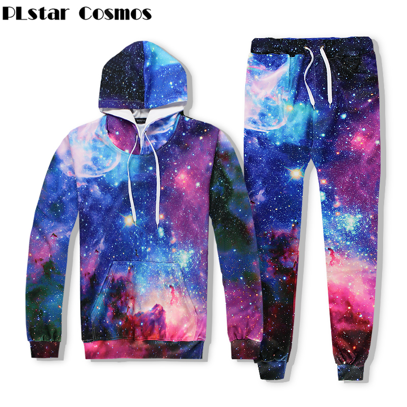 PLstar Cosmos Galaxy Space Hoodies Men/Women 3d Hooded Sweatshirts Print Colorful Stars Space Hoodies+joggers pants Sets