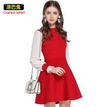 2018 New Knitted Dress Women Spring Fashion Elegant Lantern Sleeve Patchwork Mini Dresses Casual Party Dress Female